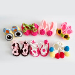 Wholesale Kind Baby Shoe - Fashion Newest Princess Shoes Pure Wool Hand-knitted Baby Shoes 7 Kinds Of Styles Size 12 Yards BB-291