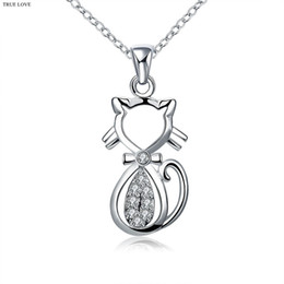 Wholesale Top Gifts For Christmas Kids - 925 Silver Cat Pendant Necklace with zircon Lovely Birthday Gifts For Kids Top Quality Free Shipping Cheap Wholesale