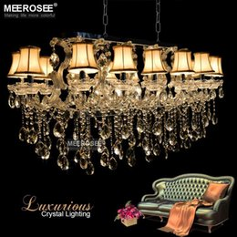 Wholesale Remote Control Clear - Luxurious Maria Theresa Chandelier Rectangle Clear Crystal drop lustre de ctistal foyer Hotel Lobby for Restaurant with 18lights