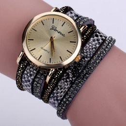 Wholesale Hot Dresses For Women - 2016 Hot Fashion Luxury Snake Leather Geneva Brand Wrist Watches For Women Dress Watches Clock Women Quartz Watch 66 XR1571