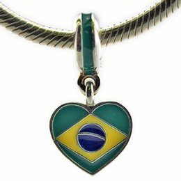 Wholesale 925 Silver Brazil - Brazil Heart Flag Mixed Enamels 2016 Summer 100% 925 Sterling Silver Beads Fit Pandora Charms Bracelet Authentic DIY Fine Jewelry