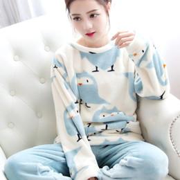 Wholesale Flannel Nightgowns Women - Wholesale- Autumn Winter Women Flannel Pajamas Set 2016 Women Pajamas Pant Sleepwear Warm Nightgown printed sleepwear size M-2xL