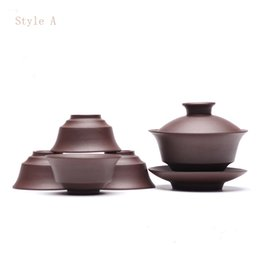 Wholesale Chinese Bowl Ceramic - Chinese YiXing Purple Sand Teapot Set include one bowl and 4 teacups Tide Shan Congou Teapot Great Popular Style In ShanTou