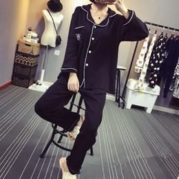 Wholesale Ladies Piece Pajama Set - Wholesale- 2016 European Women Sleepwear Spring Autumn Cotton Fleece Plus Size Pink Pyjama Suit Nightwear 2 Pieces Pajama Set For Ladies
