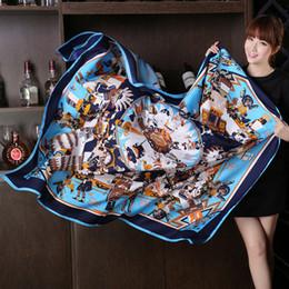 Wholesale Blue Animal Print Scarf - 2017 Autumn And Winter New Myth Silk Designer Scarf Female Silk Scarf Sunscreen Scarves Shawl Dual Use