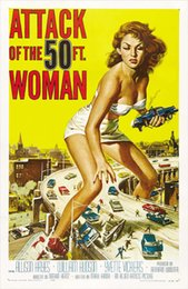 Wholesale Nude Oil Woman Painting - Attack Of The 50 Foot Woman Art Posters Print Photopaper 16 24 36 47 inches