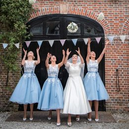 Wholesale Short Ice Blue Bridesmaid Dresses - Ice Blue Short Bridesmaid Dresses Cheap 2016 Sheer Scoop with Appliques Stain Belt Tea-Length Summer Organza Maid of Honor Gowns BA2395
