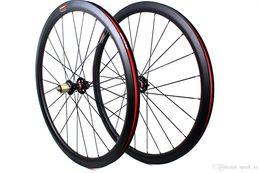 Wholesale Tubular Disc Wheels - Carbon fiber road bike disc brake wheels 38mm clincher tubular bicycle wheelset 700c 3K matt rim width 25mm XC cyclocross M5 QR