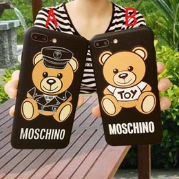 Wholesale phone covers bears - New trend of leather texture Bear mobile phone case for iphone X 7 7plus 8 8plus TPU silicone soft shell back cover for iphone 6 6S 6plus