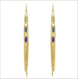 Wholesale Party Long Nails - Freeshiping The Euro-American new style of ear nails Bohemian race breeze of long style of earring of tassels exaggerated ear decorate