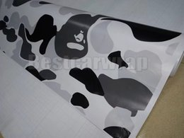 Wholesale Pattern Stickers - White Grey Black Large Pattern Camo Vinyl For Car Wrap With Air Release Camoufalge for Truck boat graphics coating 1.52X30M (5x98ft)