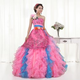 Wholesale Stage Prom Dresses - Pink Lace Flower Luxury One Shoulder Quinceanera Dresses 2016 Princess Banquet Prom Dress Pluss Size Stage Performance Ball Gown