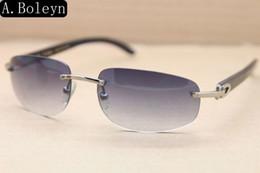 Wholesale Sunglasses Genuine Men - Brand Sunglasses-Men Sunglasses 3524011Brand Designer Black Buffalo Horn Glasses Rimless luxury Genuine Natural Sunglasses Size 58-18-140mm