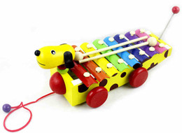 Wholesale Dog Musical - Early childhood small brown dog octave piano knock wooden musical toys can drag hand knocks xylophone scale 8 1-3 years