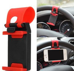 Wholesale Steering Wheel Mobile Holder - Car Cell Phone Mounts Vehicle Mounted Support Vehicle Steering Wheel Mobile Phone Rack Mobile Phone Holder Colorful Package
