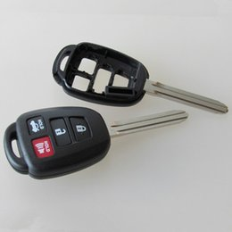 Wholesale Toyota Camry Key Buttons - 4 Button Remote Key Case Shell Fob And Uncut TOY43 Blade For TOYOTA Corolla Camry RAV4 Free shipping