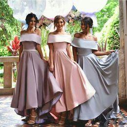 Wholesale Chiffon High Low Gowns - Elegant High Low Bridesmaid Dresses 2017 Off The Shoulder A Line Maid Of Honor Gowns Satin Wedding Guest Dresses Vestido De Novia