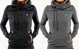 Wholesale Turtleneck Hoodies Women S - Hot Plus Thick Velvet Hoodies Autumn And Winter Sweatshirt Fashion Pockets Embroidered Long-Sleeved Hooded Sweater L588