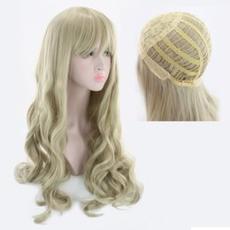 Wholesale Wavy Platinum Blonde - Z&F New Arraive 70CM Long Platinum Blonde Fashion Wavy Hair Wig Charming Curly Blonde Synthetic Heat Resistant Wigs For Women