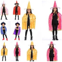 Wholesale Witches Wizard Hats - Halloween Costumes Cape With Hat Children Kids Cosplay Boy Girl Party Pumpkin Costumes Clothing Wizard Witch Chirstmas 50Pcs Free Shipping