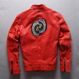 Ternos pretos homens china on-line-Jaqueta de couro dos homens Flocking ovelhas de couro genuíno bordado China manga Dragão e preto de casaco terno da motocicleta