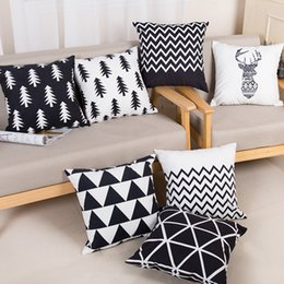 Wholesale Nordic Covers - Christmas geometry Cushion covers Cotton linen pillow case cover for Sofa bed Nordic decorative pillow case IC886