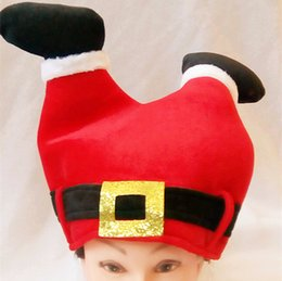 Wholesale Kids Sock Hat - New Christmas Hats Thick Ultra Soft Plush Gold velvet Santa Claus hat 28*33cm Cute Sock Shape Christmas cap for Christmas
