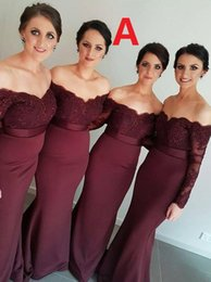 Wholesale Elastic Satin Dress Junior Bridesmaid - Sexy 2017 Burgundy Bridesmaid Dresses Off Shoulder Long Sleeve Mermaid Lace Junior Country Bridesmaid Dresses Long Maid Of Honor Dress