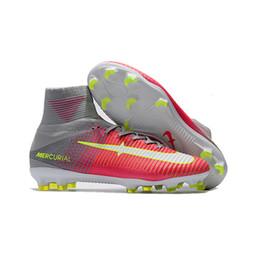 buy online dd082 20d04 Original Kids Neymar CR7 Football Boots Ronaldo Mercurial Superfly V FG AG  Indoor Soccer Shoes Magista