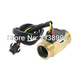Wholesale Hall Effect Flow Sensor - Wholesale-G1 2 Male Thread Brass Hall Effect Water Flow Sensor Flowmeter 1-30L min