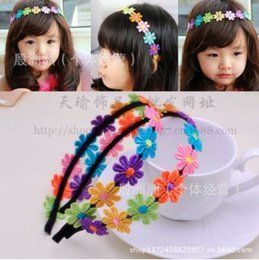 Wholesale Wholesale Pageant Accessories - TOP BABY Girls Hair Ornaments Baby Flower Pure manual Hair Hoop Childrens Hair Accessories Pageant Little Girls' Headpieces