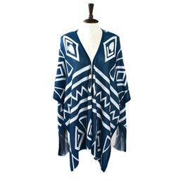 Wholesale Tribal Cardigans - Plus Size Poncho Aztec Tribal Geometric Long Asymmetrical Cloak Sweaters Cardigan For Women Sweater