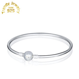 Wholesale European Bangles - New Style Charms With Logo Bracelet Round Clip Lock 925 Sterling Silver Bangles Fit European PAN Style Free Shipping