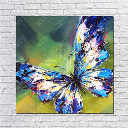 Wholesale Butterfly Canvas Wall Art - Hot Sale Oil Painting On Canvas Flying Blue Butterfly Wall Pictures Abstract Modern Canvas Wall Art Living Room Decor Picture
