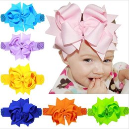 Wholesale Solid Grosgrain Ribbon Hair Bows - Baby Girls Super Big 20cm Bows Headbands Kids Children Grosgrain Ribbon Forked Tail Bow Hairbands Elastic Wide Band Hair Accessories KHA345