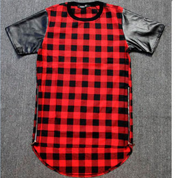 Wholesale leather sleeve t shirt women - Tyga Red Blue Plaid Golden Zip Men women hip hop swag extended Lengthen Leather T-shirt Oversized Men T Shirt Cool Tee