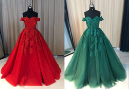 Wholesale teal prom dress crystals - Vintage Off the shoulder Red Teal Cheap Ball Gown Prom Dress Lace Tulle Long Corset Back Pleated Dresses Evening Party Formal Gown