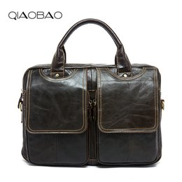 Wholesale Crazy Horse Leather Bags - Wholesale- QIAOBAO Top Grade Handmade Mens Real Crazy Horse Leather Briefcase Vintage Style Business Laptop Bag Case