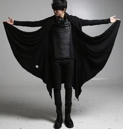 Wholesale Trench Coat Hip Hop - Fall-men's punk hip hop black coat casual cloak open cardigan long cape trench coat