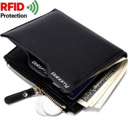 Wholesale Rfid Printed Cards - 2017 new RFID Theft Protection Fashion New Mens Wallets Black Coffee Color Quality Soft Documents ID Card Holder Zipper Coin Change Purse