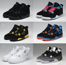 Wholesale Online Beading - Online 2016 Free Shipping basketball shoes Cheap Retro 4 Oreo fear Cement Black Cat Sneaker Sport Shoes Sale size 8 - 13