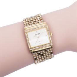 Wholesale Rhinestone Bracelet Japan - Women's Delicate Square Case Diamond Silver Gold Steel Luxury Quartz Bracelet Watch,2016 Japan Movement Women Rhinestone Watch