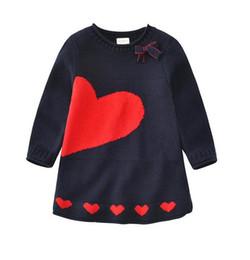 Wholesale Girl Cotton Sweater Dress - Kids Dress Children's Girls Winter Spring Heart Sweater Dresses Girl Princess Long Sleeve Knitted Dresses 5 Pcs Lot B11