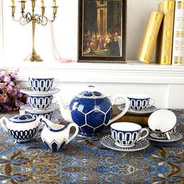 Wholesale European Tea Coffee Sets - Creative Coffee Cup set European type Bone China Tea set Ceramic Cup and Saucer Service for 6 People Festival Gift