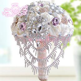 Mazzi di nozze artificiali di lusso Bling Bling cristalli Rose satinate Grande bouquet da sposa Strass colorato con fiori di alta qualità da