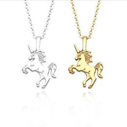 Wholesale sliding pc - Women Unicorn Horse Pendant 2 colors Necklace Plating Chain Choker Christmas Jewelry Lovely Gift 100 pcs YYA945