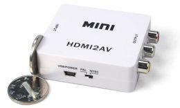 Wholesale Pal Ntsc Hdmi - 2016 AV CVBS L R to HDMI or HD HDMI to AV CVBS L R Video Converter Box Adapter 1080P MINI HDMI2AV Support NTSC and PAL Output