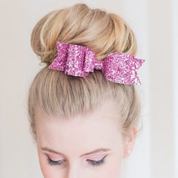 Wholesale Gold 12g - NEW Elegant Girl's Sequins Big Bowknot Barrette Hairpin Hair Clips Hair Bow Leather material 16 multy colors 12g per piece