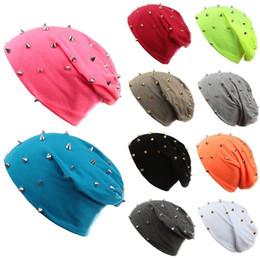Wholesale Designed Beanies - New Fashion Unisex Men Women Beanie Rivet Decoration Solid Design Hip-Hop Slouch Headwear Winter Hat Casual Beanies for Men