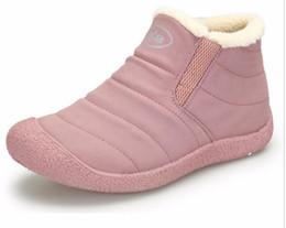 Wholesale Flats Fur Inside - Winter Women Boots Slip-On Waterproof Women Snow Boots, Fur Inside Antiskid Bottom Keep Warm Ankle Rain Boots for Women G1005